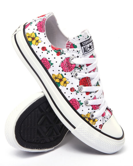 Converse - Women Black Floral Polka Dot Chuck Taylor All Star Ox Sneakers