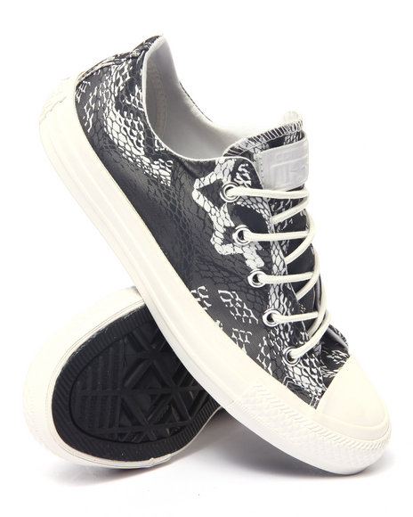 Converse - Women Black Reptile Print Chuck Taylor All Star Ox Sneakers