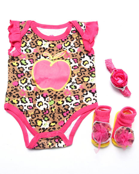 Apple Bottoms Girls Bodysuit, Booties & Headband Box Set (Newborn) Pink 0-6 Mo