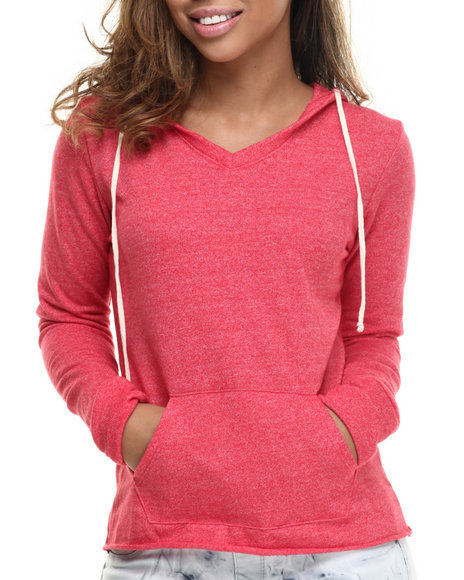 Basic Essentials - Women Red Boyfriend V-Neck Hoodie