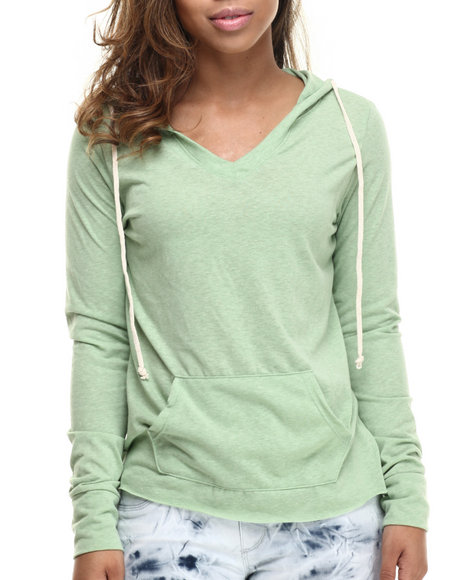 Basic Essentials - Women Green Boyfriend V-Neck Hoodie