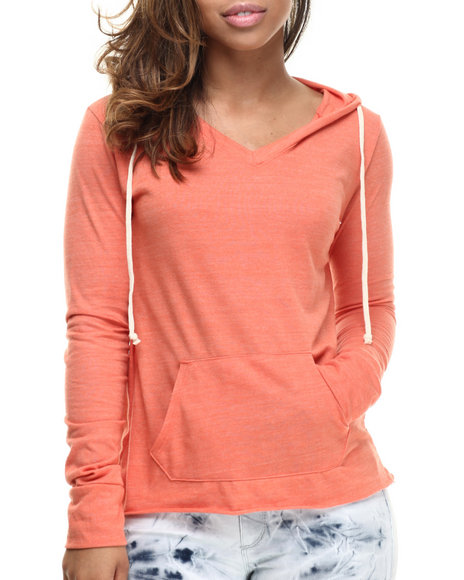 Basic Essentials - Women Orange Boyfriend V-Neck Hoodie