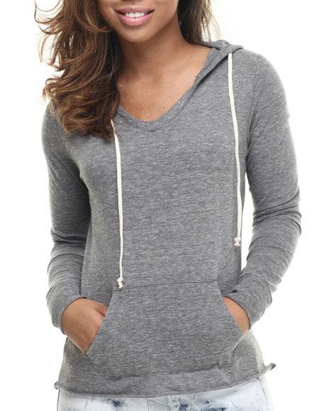 Basic Essentials - Women Grey Boyfriend V-Neck Hoodie