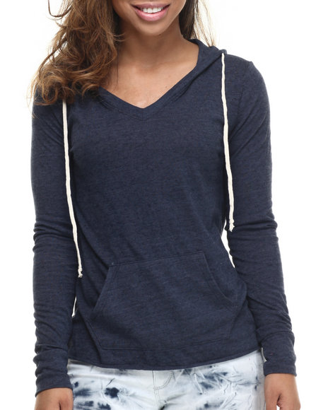 Basic Essentials - Women Navy Boyfriend V-Neck Hoodie