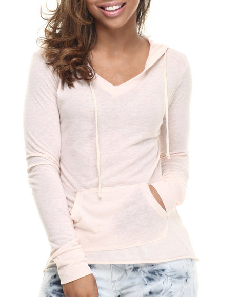 Basic Essentials - Women Light Pink Boyfriend V-Neck Hoodie