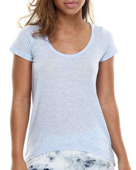 Basic Essentials - Women Light Blue Basic Boyfriend Tee