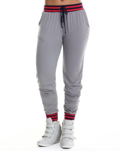 Basic Essentials - Women Grey Court Jersey Knit Jogger W/ Stripe Drawstring