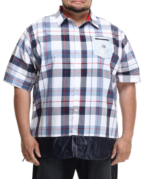 Parish - Men Blue S/S Plaid Button-Down (B&T)