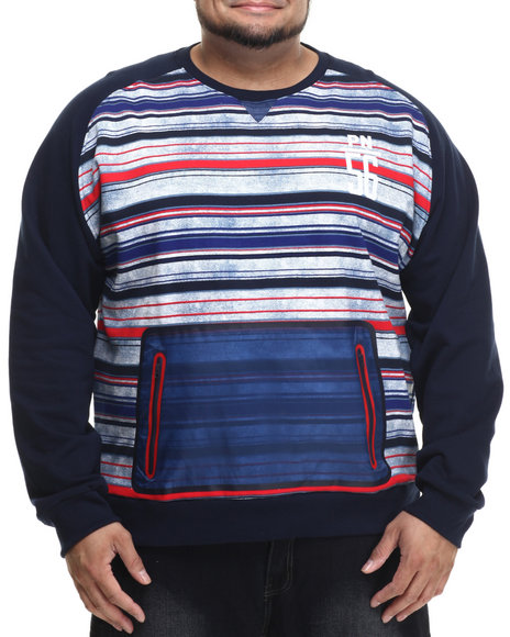 Ur-ID 215051 Parish - Men Navy Printed Stripe Sweatshirt (B&T)