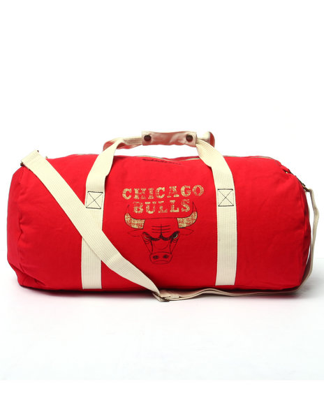 Mitchell & Ness - Men Red Chicago Bulls Team Logo Washed Canvas Duffle Bag
