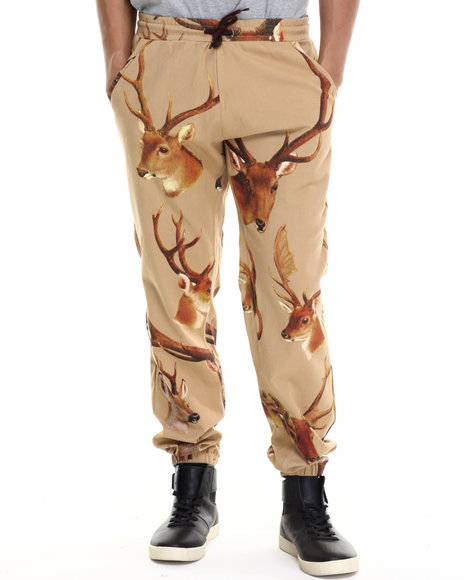 Akomplice - Men Brown Deer Head Jogger Pants
