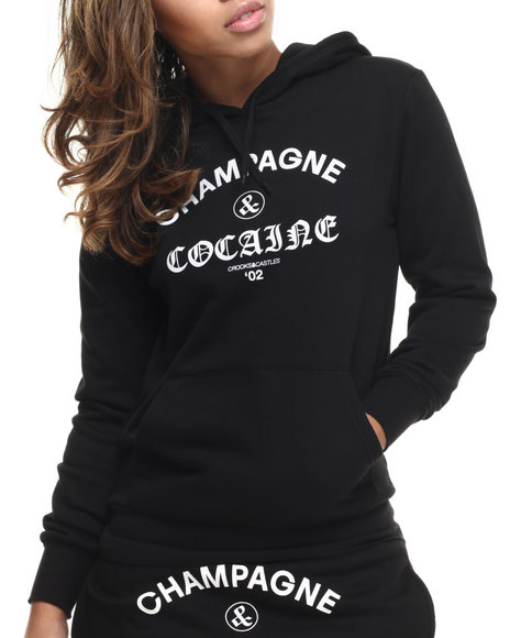Crooks & Castles - Women Black Champagne And Cocaine Hooded Pullover