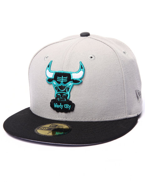 Ur-ID 215089 New Era - Men Grey Chicago Bulls Airness Release Hookup Custom 5950 Fitted Hat