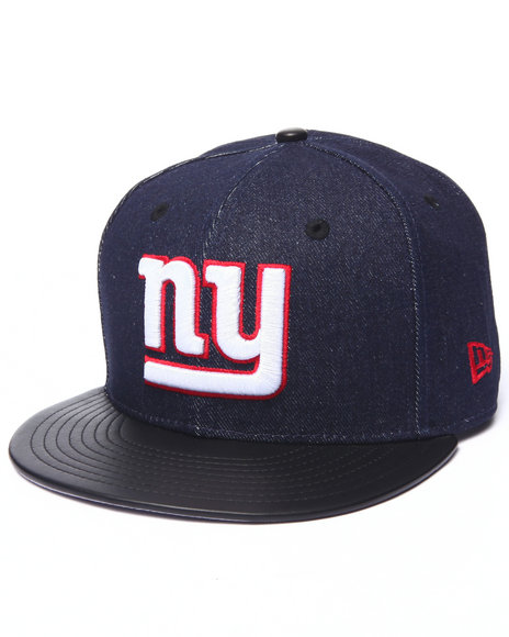 New Era Men New York Giants Denim & Faux Leather Trim 950 Snapback Hat Blue