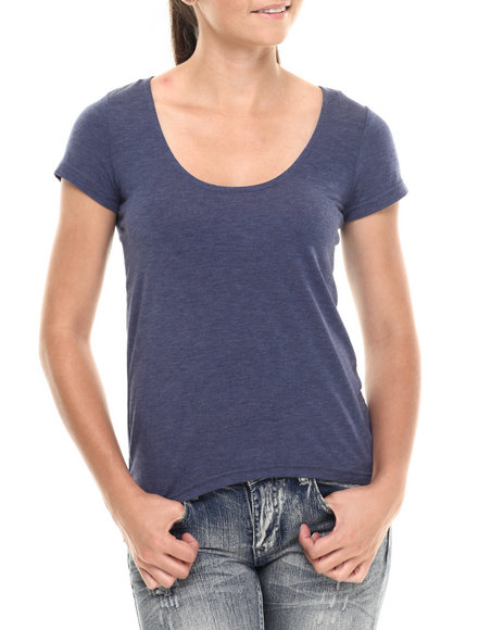 Ur-ID 215098 Fashion Lab - Women Blue High Lo Deep Scoop Short Sleeve Tee