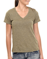 Tops - Jersey Marled Pointed Vee Neck Short Sleeve Tee