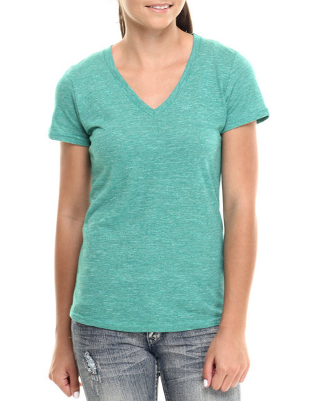 Fashion Lab - Women Green Jersey Marled Pointed Vee Neck Short Sleeve Tee