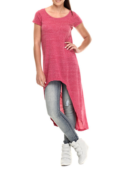 Fashion Lab - Women Red Short Sleeve High Lo Tunic Top