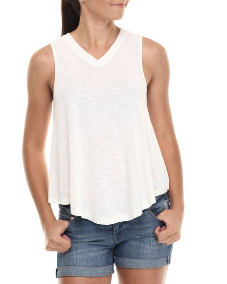 Ur-ID 215111 Fashion Lab - Women Cream Jersey Double Ee Tank Top