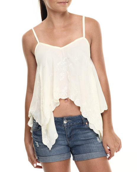 Ur-ID 215112 Fashion Lab - Women Ivory Lace Detailed Shark Bite Cami