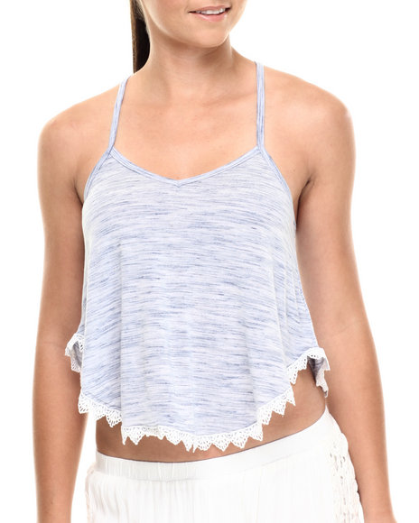 Ur-ID 215115 Fashion Lab - Women Blue Space Dye Cami Racer Tank