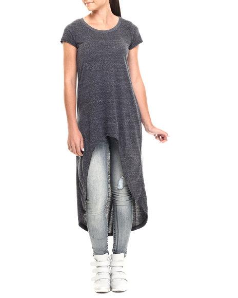 Ur-ID 215124 Fashion Lab - Women Black Short Sleeve High Lo Tunic Top