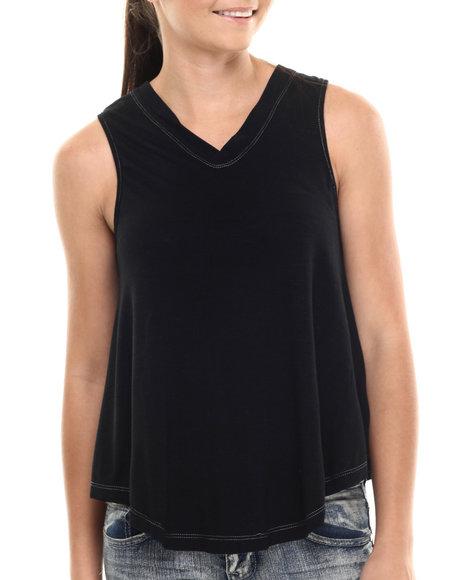 Ur-ID 215128 Fashion Lab - Women Black Jersey Double Ee Tank Top