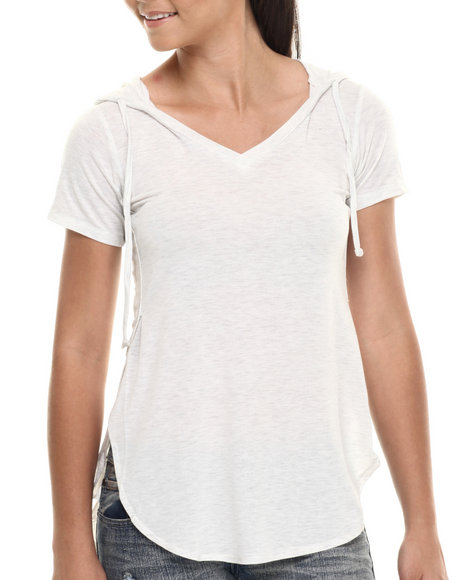 Ur-ID 215129 Fashion Lab - Women White Short Sleeve Hoodie Tee
