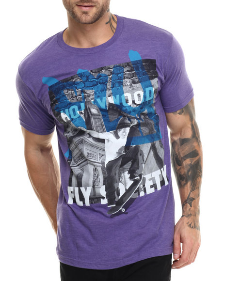 Ur-ID 215136 Flysociety - Men Purple City Wide T-Shirt