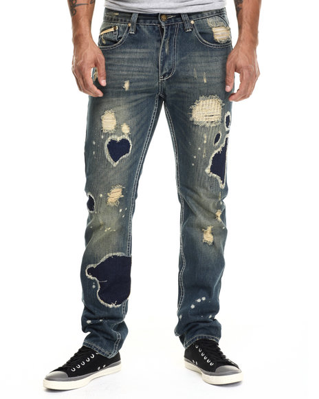 Heritage America - Men Medium Wash Earthquake Rip & Repair Denim Jeans - $59.99