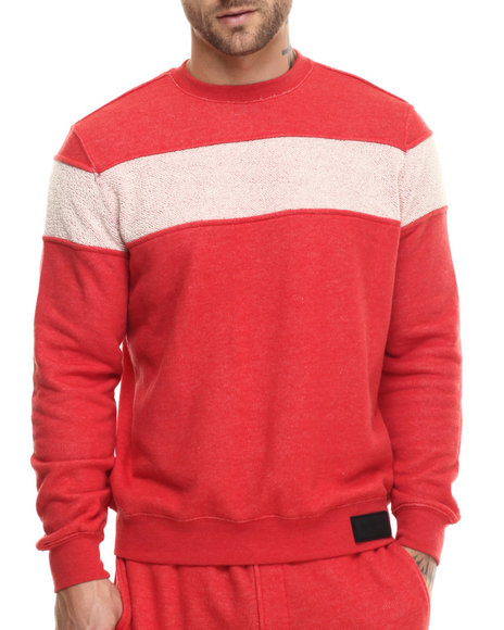 Ur-ID 215165 Rocawear BLAK - Men Red Textured Striped Crew Sweatshirt