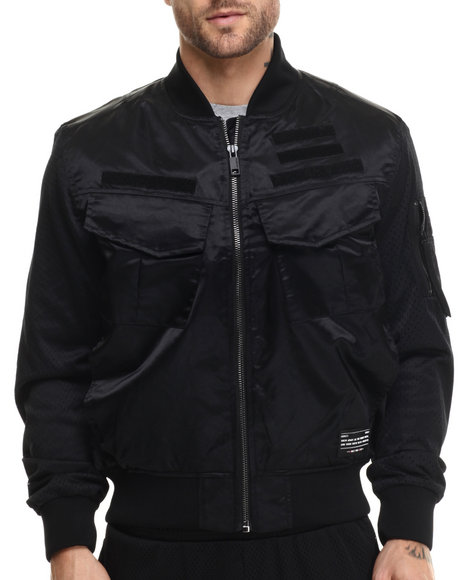 Rocawear Blak - Men Black Twill Bomber Jacket