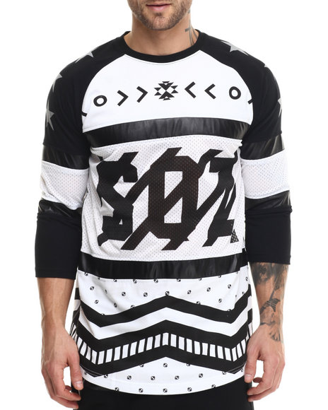 Buyers Picks - Men White S Q Z Mesh Cut - Block 3 / 4 Sleeve Raglan