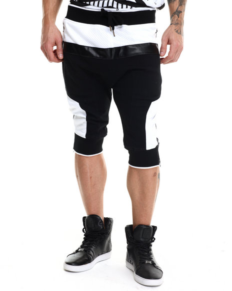 Buyers Picks - Men Black Mesh / Faux Leather - Trimmed French Terry Shorts