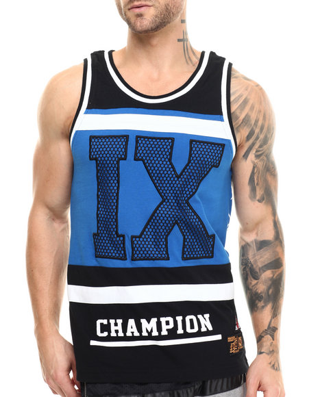 Buyers Picks - Men Blue I X Cut - Block Tank Top