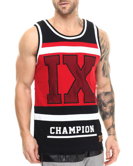 Buyers Picks - Men Red I X Cut - Block Tank Top
