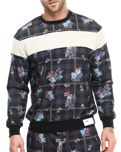 Ur-ID 215163 Rocawear BLAK - Men Multi Textured Striped Crew Sweatshirt