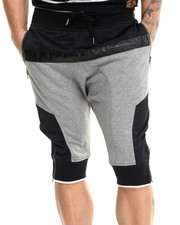 Men - Mesh / Faux Leather - Trimmed French Terry Shorts