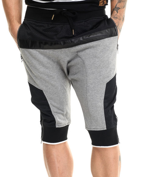 Buyers Picks - Men Grey Mesh / Faux Leather - Trimmed French Terry Shorts