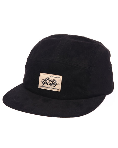 Grizzly Griptape Men Suede Rockies Camp 5-Panel Hat Black - $38.00