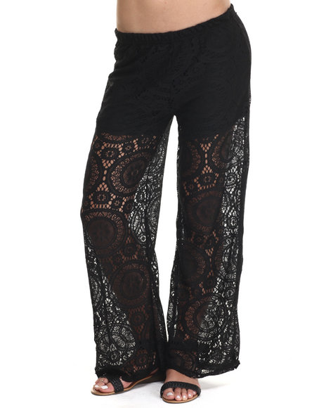 Ur-ID 215211 Fashion Lab - Women Black Knit Crochet Look Lace Palazzo W/Short Lining