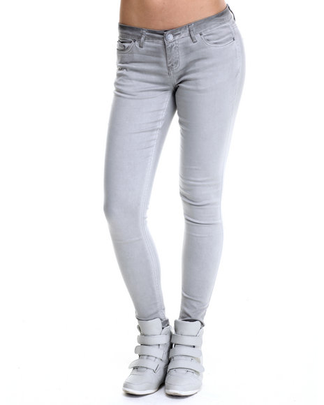 Ur-ID 215212 Fashion Lab - Women Grey Spray Wash Color Denim Jean