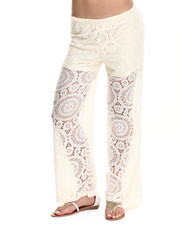 Fashion Lab - Knit Crochet Look Lace Palazzo w/short lining