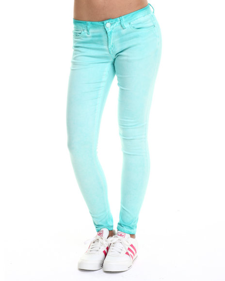 Ur-ID 215217 Fashion Lab - Women Turquoise Spray Wash Color Denim Jean