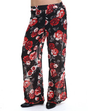 Pants - Floral Chiffon Palazzo Pant