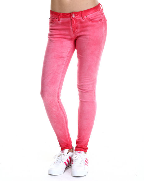 Fashion Lab - Women Red Spray Wash Color Denim Jean