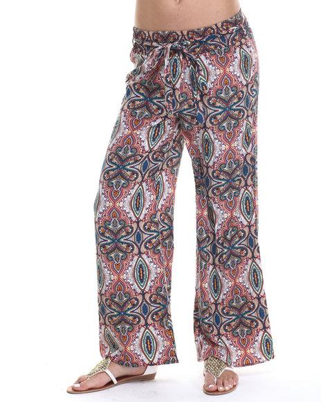Ur-ID 215223 ALI & KRIS - Women Teal Mosaic Floral Paisley Palazzo Pant