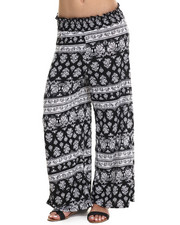 Fashion Lab - Black and White Printed Plazzo Pant
