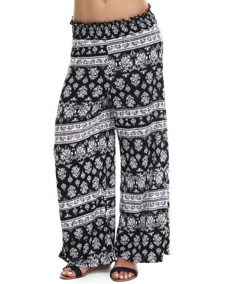 Ur-ID 215232 Fashion Lab - Women Black Black And White Printed Plazzo Pant