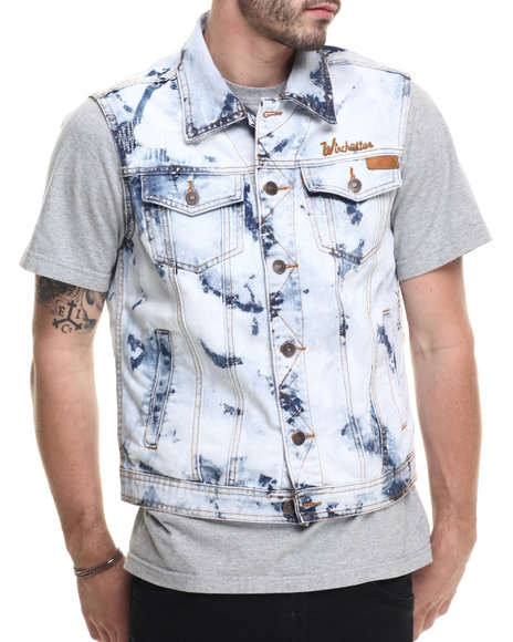 Winchester - Men Medium Wash Acid Wash Flag Vest